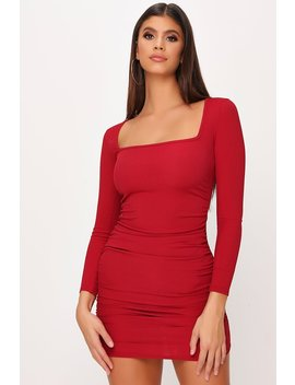 Burgundy Ruched Side Long Sleeve Ribbed Dress by I Saw It First