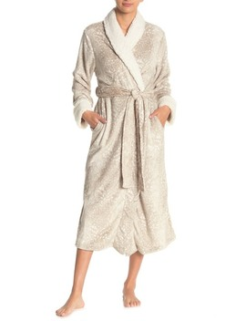 Faux Shearling Shawl Collar Waist Tie Robe by Carole Hochman