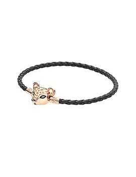 Pandora Moments Rose™ Cz Sparkling Lion Princess Woven Leather Bracelet by Pandora