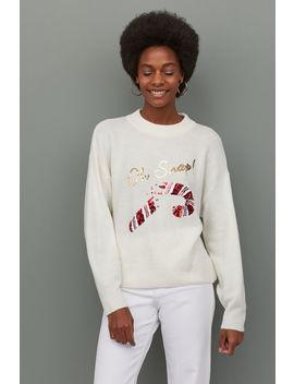 Пуловер с мотив с пайети by H&M