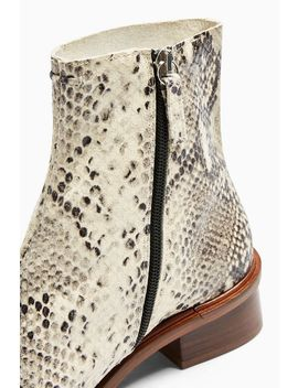 Arrow Leather Snake Flat Leather Boots by Topshop