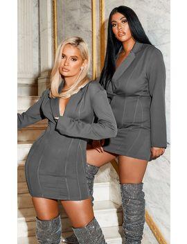 Grey Fitted Seam Blazer Dress by Prettylittlething