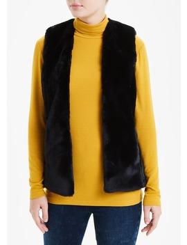 Black Faux Fur Gilet by Matalan