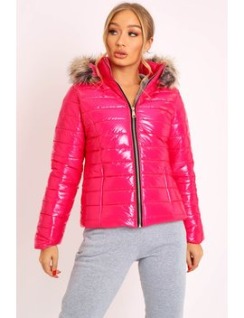 Pink Wet Look Puffer Coat   Soph by Rebellious Fashion