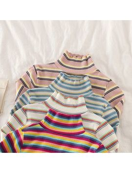Puye   Striped Turtle Neck Long Sleeve Knit Top by Puye