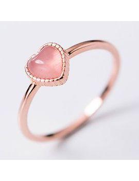A'roch   925 Sterling Silver Cat Eye Stone Heart Open Ring by A'roch