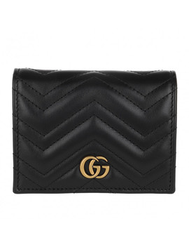 Gg Marmont Card Case Leather Black by Gucci
