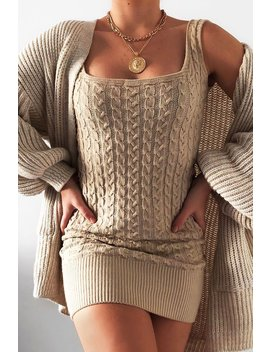 Beige Cable Knit Mini Dress   Willow by Rebellious Fashion
