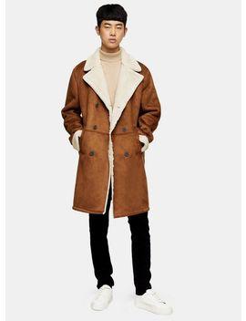 Tan Longline Shearling Coat by Topman