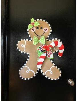 Screen Wire Whimsical Christmas Gingerbread Man With Candy Cane Doornament Door Hanger Wreath by Etsy