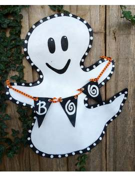 Halloween Ghost Screen Wire Doornament Holding A Boo Banner! by Etsy