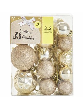 Wilko Mini 38 Pack Luxe Sparkle Gold Baubles Wilko Mini 38 Pack Luxe Sparkle Gold Baubles by Wilko