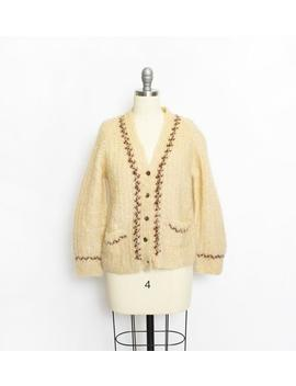 Vintage 1950s Sweater Wool Mohair Cream Cardigan 60s Small / Medium by Etsy