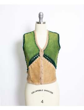 Vintage 1970s Leather Suede Top Green Brown Boho Cropped 70s Small by Etsy