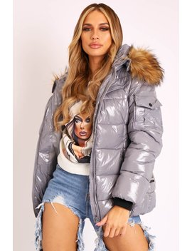 Grey High Shine Fur Trim Puffer Coat   Stacia by Rebellious Fashion