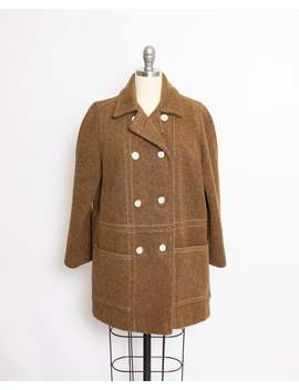 Vintage 1970s Coat Brown Fleck Wool Heavy Pea Coat 70s Medium by Etsy