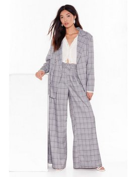 Hey Roomy Check Wide Leg Trousers by Nasty Gal