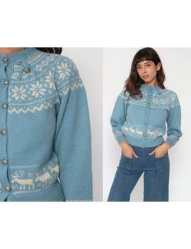 Norwegian Sweater Wool Reindeer Cardigan Fair Isle Cardigan 80s Boho Nordic Sweater Vintage Bohemian Baby Blue Button Up Extra Small Xs by Etsy