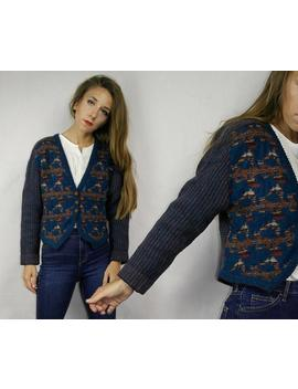 Wool Sweater / Scottish Wool Cardigan / Blue Sweater Jacket / Janet Gladstone Sweater / Folk Button Down Sweater Made In Scotland / by Etsy