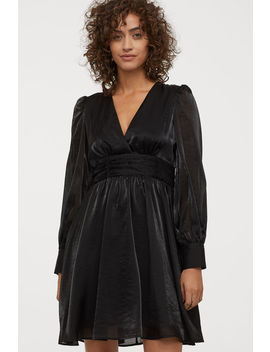 Puff Sleeved V Neck Dress by H&M