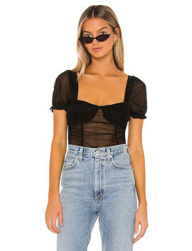 Pamela Ruched Mesh Top In Black by Superdown