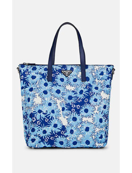 Leather Trimmed Floral Tote Bag by Prada