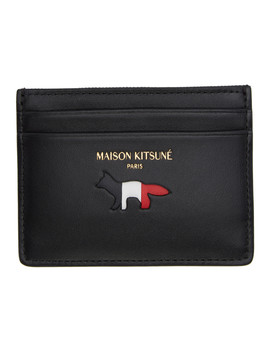 Black Tricolor Logo Leather Card Holder by Maison KitsunÉ