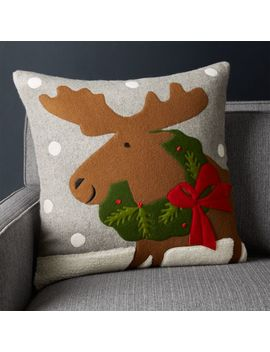 "Holiday Moose Pillow With Feather Down Insert 20"" by Crate&Barrel"