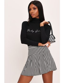 Black Dogstooth Print Skater Mini Skirt by I Saw It First