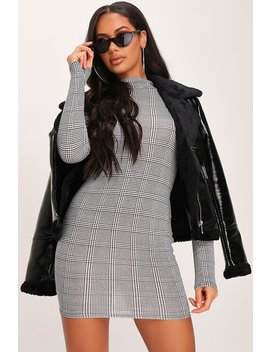 Black Check Print Roll Neck Mini Dress by I Saw It First