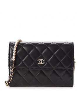 Chanel Lambskin Quilted Pearl Clutch With Chain Black by Chanel