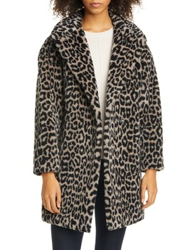 Double Breasted Leopard Teddy Faux Fur Coat by Harris Wharf London