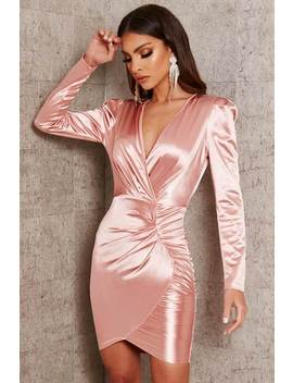 Dusky Pink Satin Ruched Long Sleve Mini Dress by I Saw It First