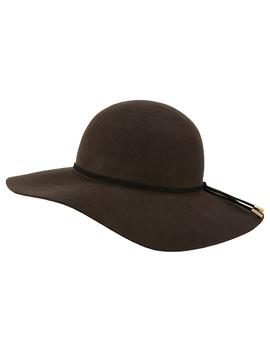 Brooklyn Bitter Chocolate Wool Floppy Hat by Monsoon
