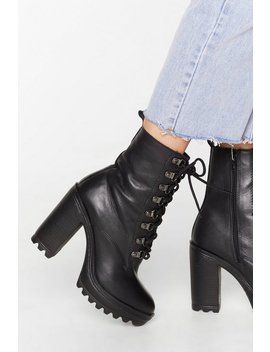 Leather D Ring Heeled Cleated Hiker Boot by Nasty Gal
