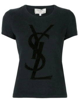 Velvet Effect Logo T Shirt by Yves Saint Laurent Pre Owned