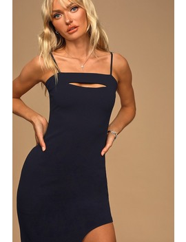 Stunned And Speechless Navy Blue Cutout Bodycon Midi Dress by Lulus
