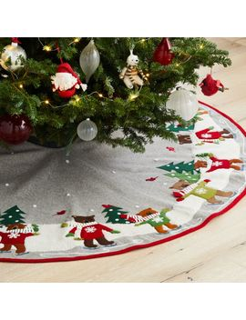 Skating Holiday Bears Tree Skirt by Crate&Barrel