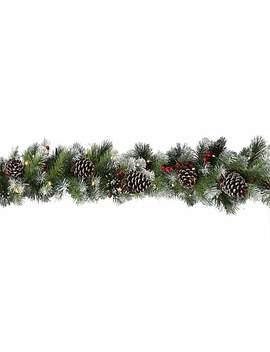 Silver Bristle Berry & Pine Pre Lit Garland by Dunelm