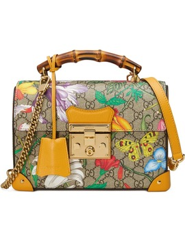 Padlock Floral Bamboo Handle Canvas & Leather Shoulder Bag by Gucci