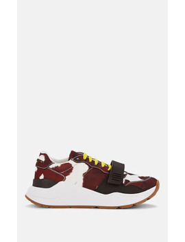 Women's Cowhide Print Sneakers by Burberry