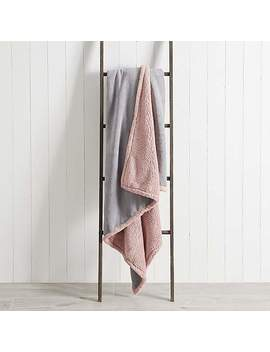 Soft Fleece Sherpa Blush 130cm X 170cm Throw by Dunelm