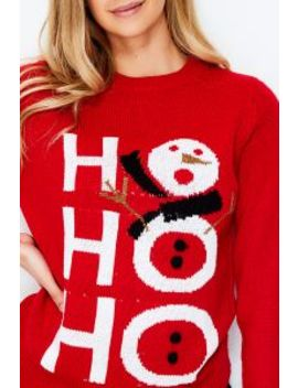Red Hohoho Snowman Xmas Jumper by Select