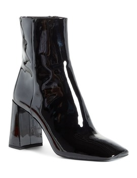 Block Heel Patent Leather Bootie by Prada