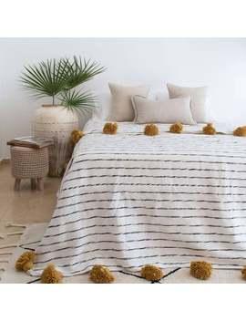 Moroccan Pom Pom Blanket, Pom Poms, Moroccan Throw Blanket, Boho Blanket, Moroccan Pompom Throw Blanket, Berber Blanket, Handwoven Blanket by Etsy