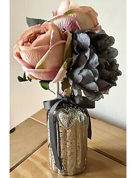 Artificial Silk Flower Arrangement Grey And Pink Flowers In A Grey Charm Vase by Ebay Seller