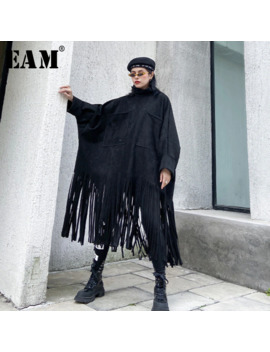 [Eam] Loose Fit Tassels Split Big Size Jacket New Turtleneck Long Sleeve Women Coat Fashion Tide Autumn Winter 2019 1 M630 by Ali Express.Com