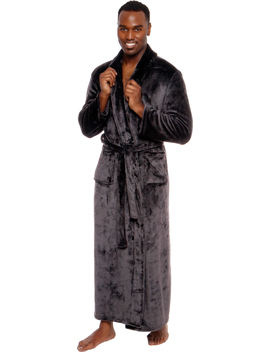 Ross Michaels Mens Full Floor Length Big And Tall Long Plush Bath Robe by Ross Michaels
