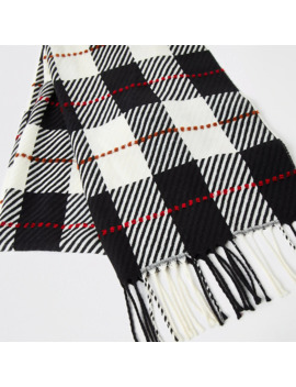 Monochrome Check Scarf by River Island