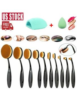 10 Pcs Oval Cream Puff Toothbrush Facial Makeup Brushes Set Brush Cleaner Sponges by Unbranded